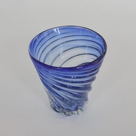 【ガラス工房清天】モールグラス 青