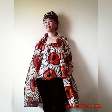 アフリカ布トレンチジャケット