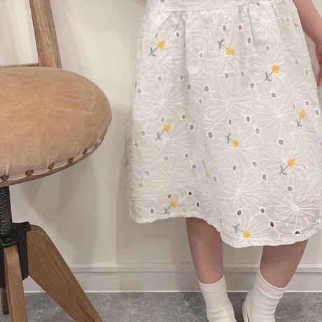 花刺繍レースワンピ