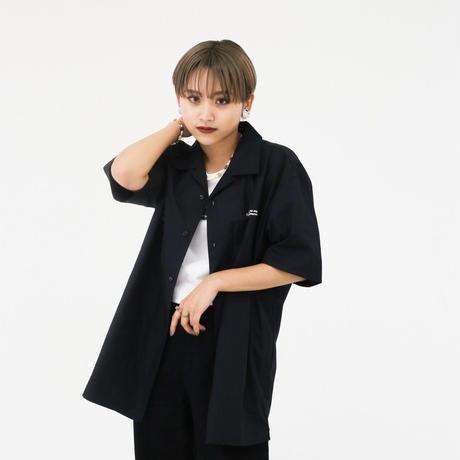 A NOTHING FACE オープンカラーシャツ black