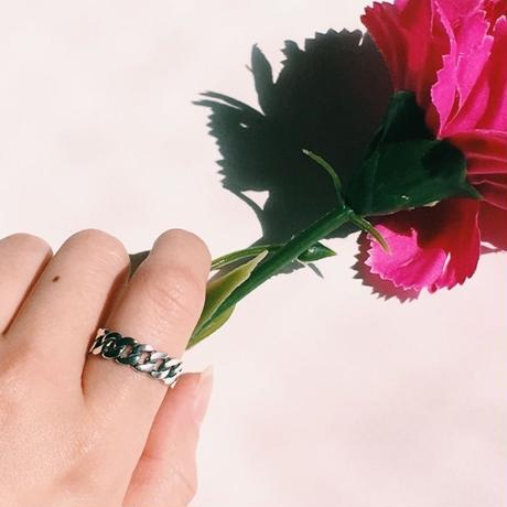 silver wide chain ring