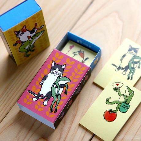 猫とカエルのマッチ箱付箋(ふせん)