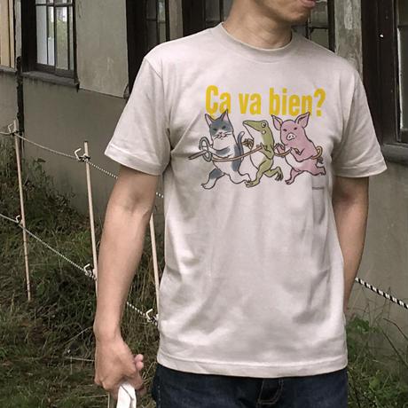 Tシャツ「電車ごっこ」(ベージュグレー)男女兼用【受注生産・送料無料】