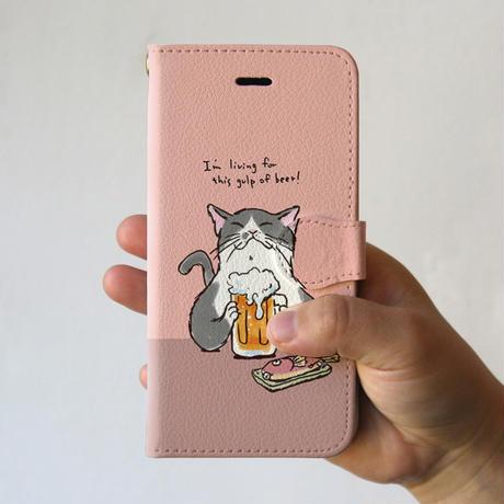 スマホケース 猫が乾杯(ベビーピンク)