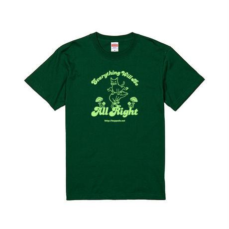 猫とカエルのTシャツ(アイビーグリーン)【おおきめS】男女兼用