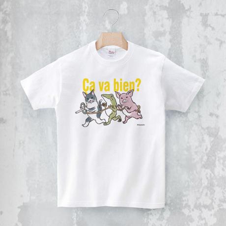 Tシャツ「電車ごっこ」(ホワイト)男女兼用【受注生産・送料無料】