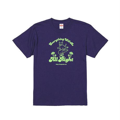 猫とカエルのTシャツ(インディゴ)【おおきめS】男女兼用