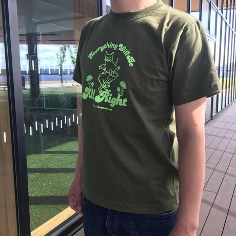 送料無料】猫とカエルのTシャツ(オリーブ)【S】男女兼用