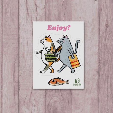 ステッカー 猫たちお買い物