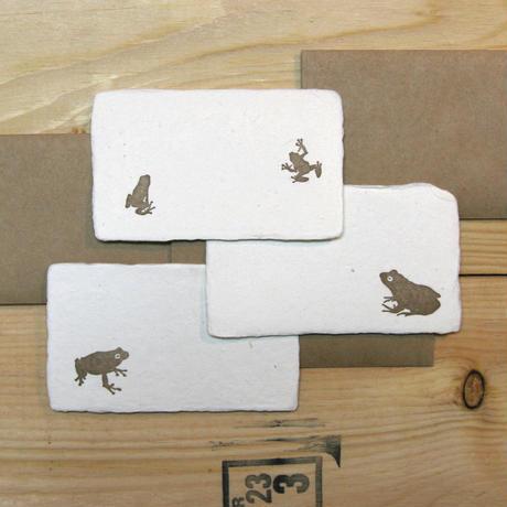 和紙メッセージカード カエル(金)3枚セット