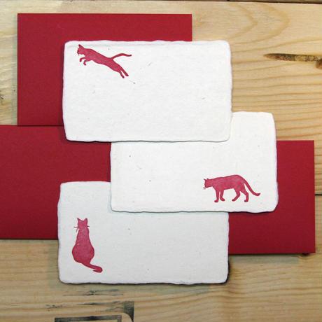 和紙メッセージカード 猫(赤)3枚セット