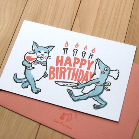 活版カード 猫とカエルがハッピーバースデー