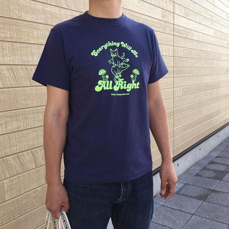 送料無料】猫とカエルのTシャツ(インディゴ)【S】男女兼用