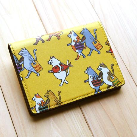 名刺・カードケース 猫たちお買い物(イエロー)