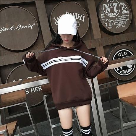 パーカー ゆったり 裏起毛 ラウンドネック ボーダー柄 フード付き 韓国風 カジュアル 茶色