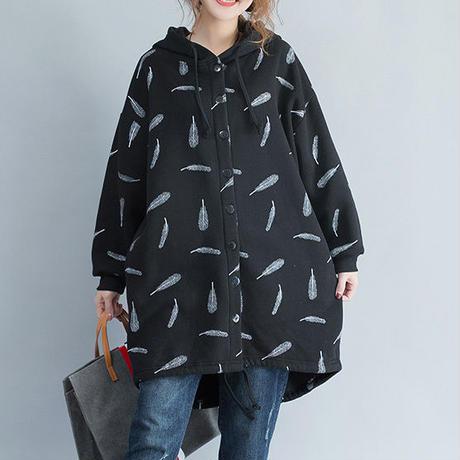 大きいサイズ フード付き羽柄ロングコート アウター 裏起毛 パーカーコート ゆる感 秋冬 F