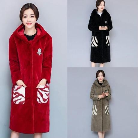 フード付きコート ポケット ファー付き 刺繍 全4色 韓流 大きいサイズ