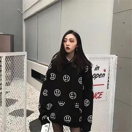 パーカー ゆったり 裏起毛 プリント フード付き ポケット カジュアル 韓国風 黒 大きいサイズ