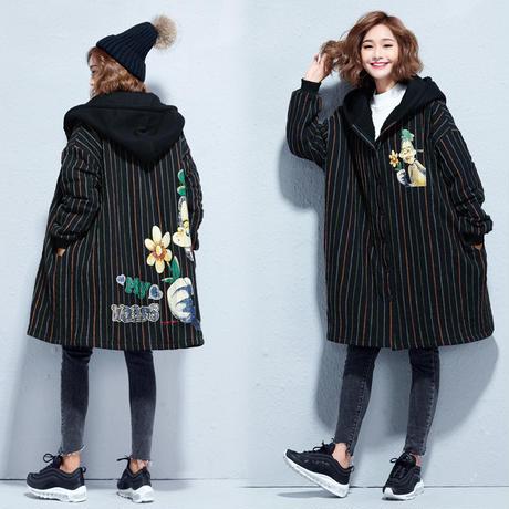 大きいサイズ ロゴが可愛い☆フード付きストライプコート 裏起毛 パーカーコート 防寒 秋冬 L/2L