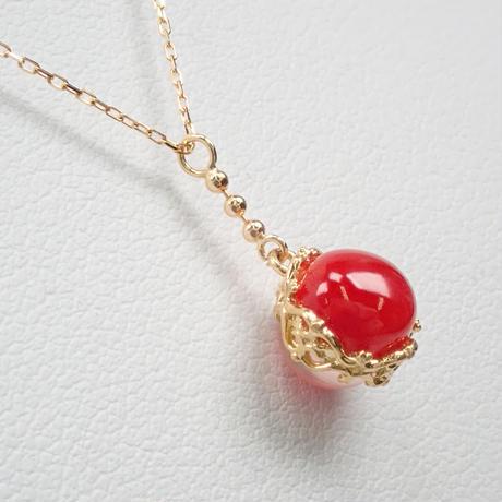 【5/22掲載】K18赤珊瑚・ローズクォーツペンダント(ネックレス)