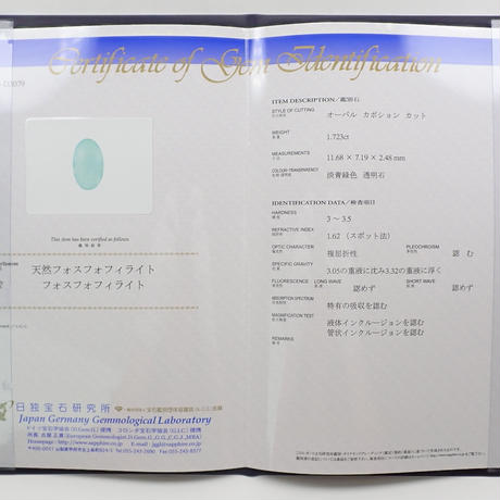 【9/8更新】フォスフォフィライト 1.723ctルース 日独鑑付