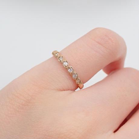 【2/10掲載】K18PGダイヤモンド0.13ct ピンキーリング
