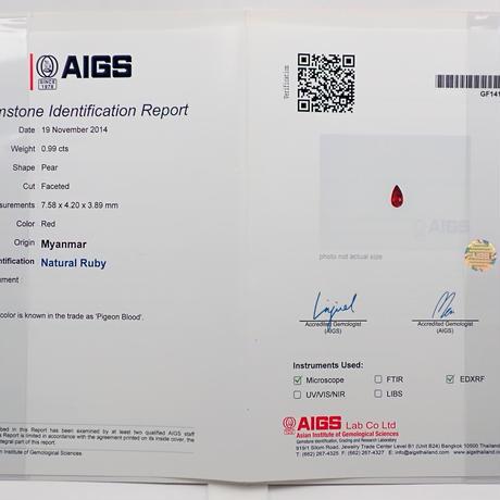 【5/4更新】ピジョンブラッドルビー  0.99ctルース  AIGS付