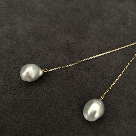 SOUTH SEA PEARL WHITE LONG CHAIN PIERCED