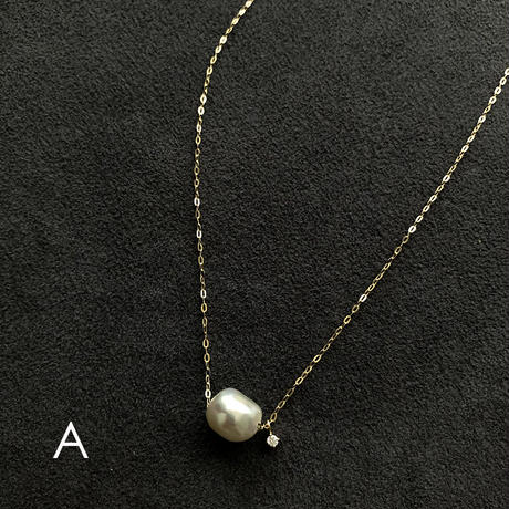 NATURAL AKOYA + DIAMOND NECKLACE