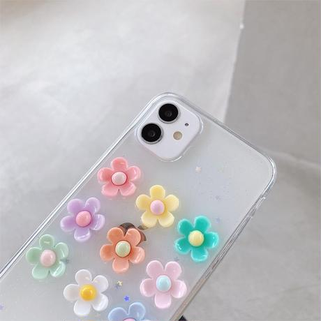 【No.35】クリアケース 花柄 ぷっくり iPhoneケース