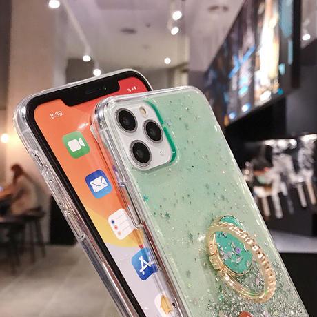 【No.129】 クリアケース ラメ柄 リングホルダー付き iPhoneケース 5種類