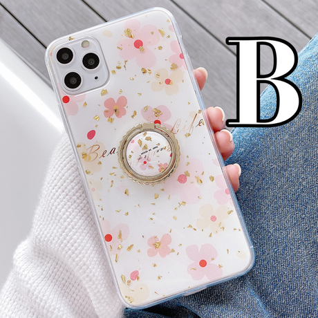 【No.221】 花柄 ラメ入り リング・スタンドホルダー付き iPhoneケース 2種類