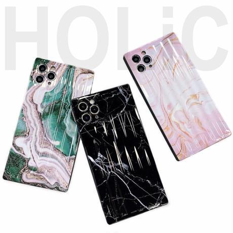 【No.203】大理石柄 スクエア型 iPhoneケース 3種類