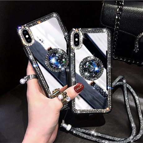 【No.114】 ミラーデザイン スタンドホルダー付き ストラップ付き iPhoneケース