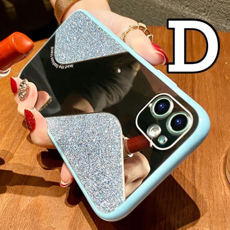 【No.116】ミラーデザイン ラメ柄 iPhoneケース 5種類