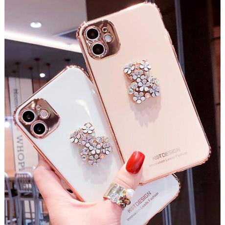 【No.104】 シンプル フラワーベア付き iPhoneケース 2種類