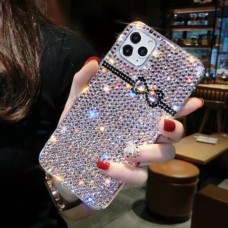 【No.109】 ラメ柄 リボン iPhoneケース 2種類
