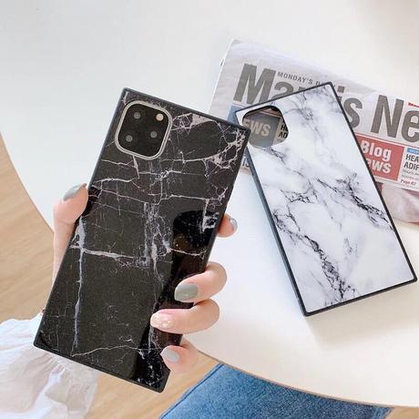 【No.2】大理石柄 スクエア型 iPhoneケース 2種類