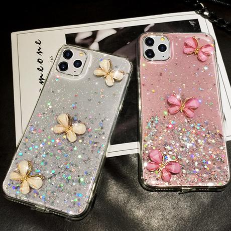 【No.150】  クリアケース ラメ柄 チョウ柄 iPhoneケース 2種類
