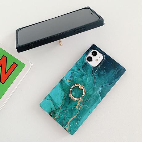 【No.127】 スクエア型 大理石柄 リングホルダー付き iPhoneケース 3種類