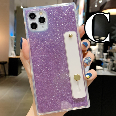 【No.219】 ラメ柄 スクエア型 iPhoneケース 6種類