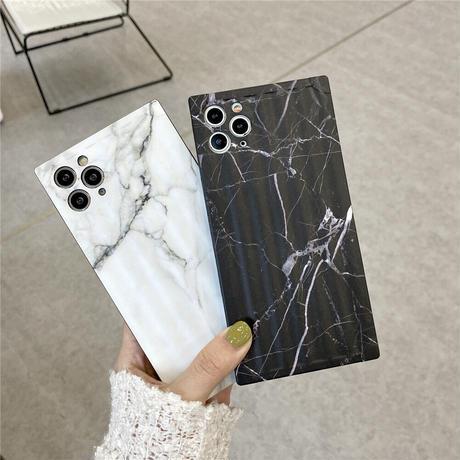 【No.46】 大理石柄 スクエア型 iPhoneケース 4種類