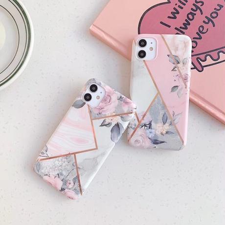 【No.196】花柄 大理石柄 iPhoneケース 3種類