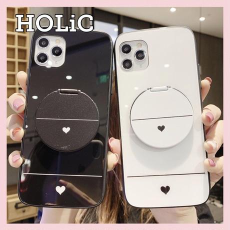 【No.163】ハート柄 ミラースタンド付き iPhoneケース 2種類