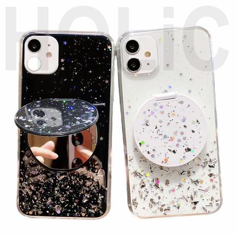 【No.187】  ラメ柄 ミラースタンドホルダー付き iPhoneケース 5種類