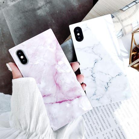 【No.45】 大理石柄 スクエア型 iPhoneケース 3種類