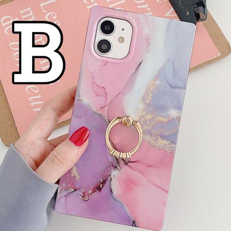 【No.126】 スクエア型 大理石柄 リングホルダー付き iPhoneケース 3種類