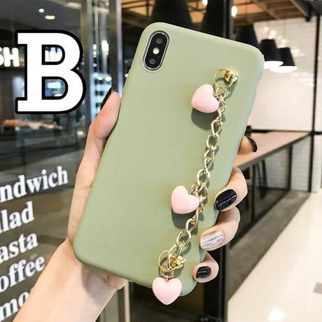 【No.250】 ハートチェーンブレスレット付き  iPhoneケース 4種類