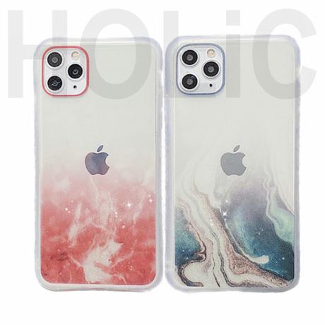 【No.189】 クリアケース マーブル グリッター柄 iPhoneケース 4種類