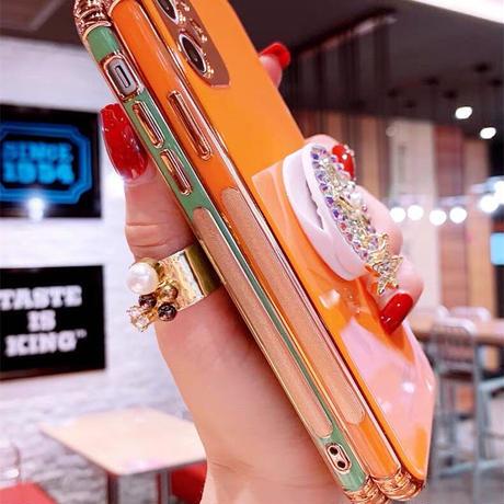 【No.307】 ラインストーン ストラップ付き  iPhoneケース 4種類